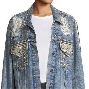Alice + Olivia Embellished oversized denim jacket